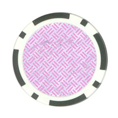 Woven2 White Marble & Pink Colored Pencil (r) Poker Chip Card Guard by trendistuff