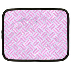 Woven2 White Marble & Pink Colored Pencil (r) Netbook Case (xxl)  by trendistuff