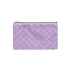 Woven2 White Marble & Pink Colored Pencil (r) Cosmetic Bag (small)  by trendistuff