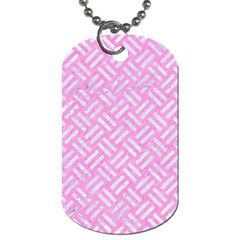 Woven2 White Marble & Pink Colored Pencil Dog Tag (two Sides) by trendistuff