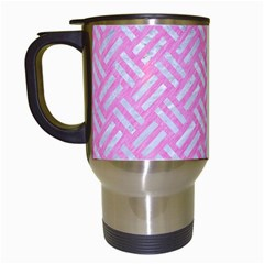 Woven2 White Marble & Pink Colored Pencil Travel Mugs (white) by trendistuff