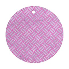 Woven2 White Marble & Pink Colored Pencil Round Ornament (two Sides) by trendistuff