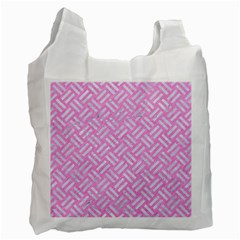 Woven2 White Marble & Pink Colored Pencil Recycle Bag (two Side)  by trendistuff