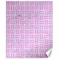 Woven1 White Marble & Pink Colored Pencil (r) Canvas 16  X 20   by trendistuff