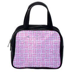 Woven1 White Marble & Pink Colored Pencil (r) Classic Handbags (one Side) by trendistuff