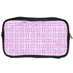 Woven1 White Marble & Pink Colored Pencil (r) Toiletries Bags by trendistuff