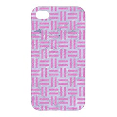 Woven1 White Marble & Pink Colored Pencil (r) Apple Iphone 4/4s Hardshell Case