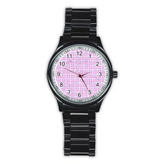 Woven1 White Marble & Pink Colored Pencil (r) Stainless Steel Round Watch by trendistuff