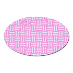 Woven1 White Marble & Pink Colored Pencil Oval Magnet by trendistuff