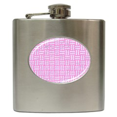Woven1 White Marble & Pink Colored Pencil Hip Flask (6 Oz) by trendistuff