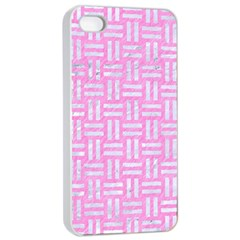 Woven1 White Marble & Pink Colored Pencil Apple Iphone 4/4s Seamless Case (white) by trendistuff
