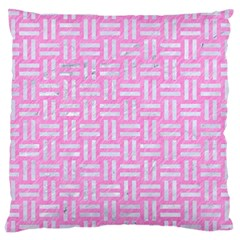 Woven1 White Marble & Pink Colored Pencil Large Cushion Case (two Sides) by trendistuff