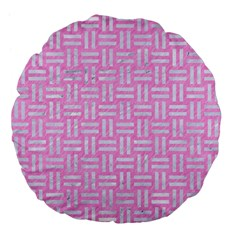Woven1 White Marble & Pink Colored Pencil Large 18  Premium Flano Round Cushions by trendistuff