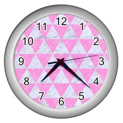 Triangle3 White Marble & Pink Colored Pencil Wall Clocks (silver)  by trendistuff