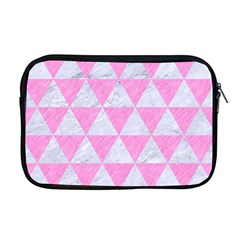 Triangle3 White Marble & Pink Colored Pencil Apple Macbook Pro 17  Zipper Case by trendistuff