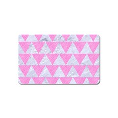 Triangle2 White Marble & Pink Colored Pencil Magnet (name Card) by trendistuff