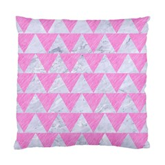 Triangle2 White Marble & Pink Colored Pencil Standard Cushion Case (one Side) by trendistuff