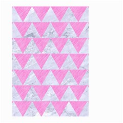 Triangle2 White Marble & Pink Colored Pencil Small Garden Flag (two Sides) by trendistuff