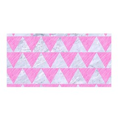 Triangle2 White Marble & Pink Colored Pencil Satin Wrap by trendistuff