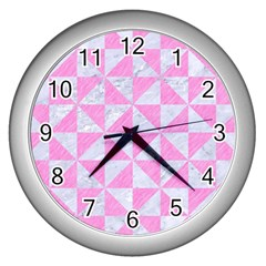 Triangle1 White Marble & Pink Colored Pencil Wall Clocks (silver)  by trendistuff