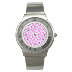 Triangle1 White Marble & Pink Colored Pencil Stainless Steel Watch by trendistuff