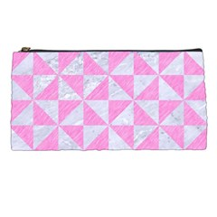 Triangle1 White Marble & Pink Colored Pencil Pencil Cases by trendistuff