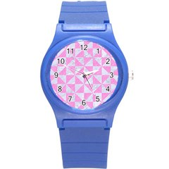 Triangle1 White Marble & Pink Colored Pencil Round Plastic Sport Watch (s) by trendistuff