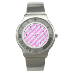 Stripes3 White Marble & Pink Colored Pencil (r) Stainless Steel Watch