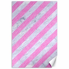Stripes3 White Marble & Pink Colored Pencil (r) Canvas 12  X 18   by trendistuff