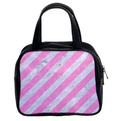 Stripes3 White Marble & Pink Colored Pencil (r) Classic Handbags (2 Sides)