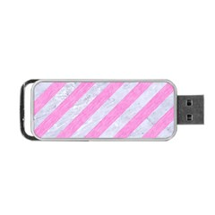 Stripes3 White Marble & Pink Colored Pencil (r) Portable Usb Flash (two Sides) by trendistuff