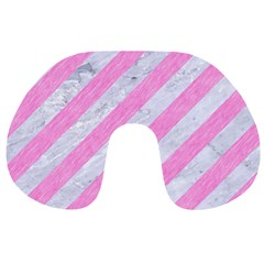 Stripes3 White Marble & Pink Colored Pencil (r) Travel Neck Pillows by trendistuff
