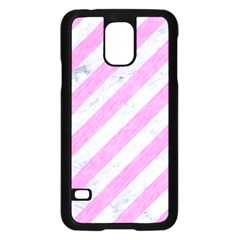 Stripes3 White Marble & Pink Colored Pencil (r) Samsung Galaxy S5 Case (black) by trendistuff