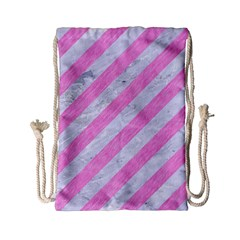Stripes3 White Marble & Pink Colored Pencil (r) Drawstring Bag (small) by trendistuff