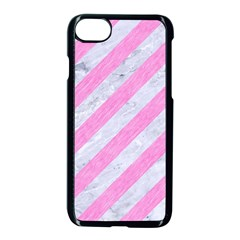 Stripes3 White Marble & Pink Colored Pencil (r) Apple Iphone 8 Seamless Case (black) by trendistuff