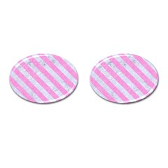 Stripes3 White Marble & Pink Colored Pencil Cufflinks (oval) by trendistuff