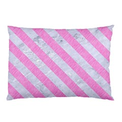 Stripes3 White Marble & Pink Colored Pencil Pillow Case (two Sides) by trendistuff