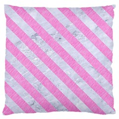 Stripes3 White Marble & Pink Colored Pencil Standard Flano Cushion Case (two Sides) by trendistuff
