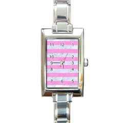 Stripes2white Marble & Pink Colored Pencil Rectangle Italian Charm Watch by trendistuff