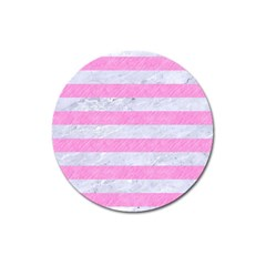 Stripes2white Marble & Pink Colored Pencil Magnet 3  (round) by trendistuff