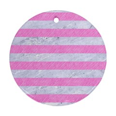 Stripes2white Marble & Pink Colored Pencil Round Ornament (two Sides) by trendistuff
