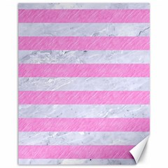 Stripes2white Marble & Pink Colored Pencil Canvas 11  X 14   by trendistuff