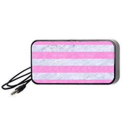 Stripes2white Marble & Pink Colored Pencil Portable Speaker by trendistuff
