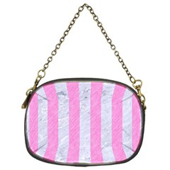 Stripes1 White Marble & Pink Colored Pencil Chain Purses (one Side)  by trendistuff