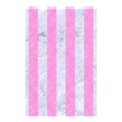 Stripes1 White Marble & Pink Colored Pencil Shower Curtain 48  X 72  (small)  by trendistuff