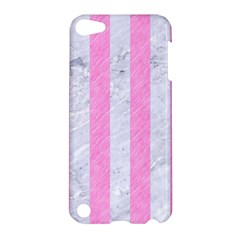 Stripes1 White Marble & Pink Colored Pencil Apple Ipod Touch 5 Hardshell Case by trendistuff