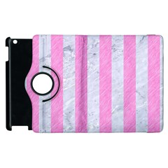 Stripes1 White Marble & Pink Colored Pencil Apple Ipad 2 Flip 360 Case by trendistuff