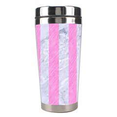 Stripes1 White Marble & Pink Colored Pencil Stainless Steel Travel Tumblers by trendistuff