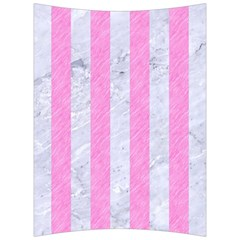 Stripes1 White Marble & Pink Colored Pencil Back Support Cushion by trendistuff