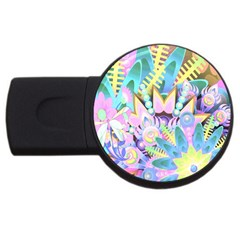 Floral Pattern Tropical Hawaiian Retro  Usb Flash Drive Round (2 Gb) by CrypticFragmentsColors
